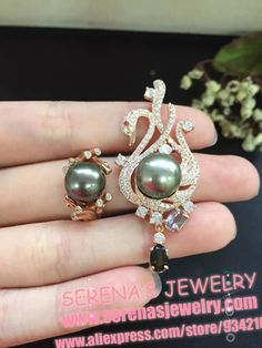present 925 sterling silver fine jewelry sets natural Tahiti black pearl sets for women on sale necklace ring earrings