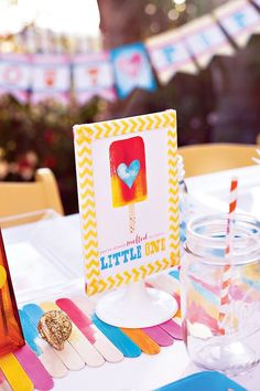 popsicle baby shower party sign and decorations