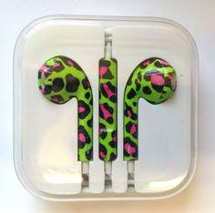 iPhone 5 5S 5C Headphones Earpods Handsfree Mic Volume Controller Green & Pink