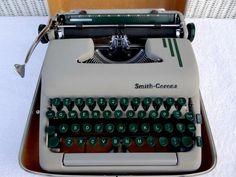 Vintage 1950s Smith Corona Silent Super Portable Manual Typewriter with Hard Case and Original Key by TimelessTreasuresbyM on Etsy