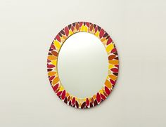 Fine Celina is a feminine light and bright oval shaped hand painted mirror. Reminiscent of both summer and autumn. By Basma Furniture www.basma.me www.facebook.com/basmafurniture