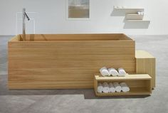 Bisazza unveiled a new bath furniture collection by Japanese designer Nendo at Fuorisalone during Milan Design Week Bathroom Trends, Diy Bathroom Decor, Bathroom Interior Design, Bathroom Sets, Dream Bathrooms, Amazing Bathrooms, Architectural Digest, Wood Bathtub, Minimalist Bathroom Design