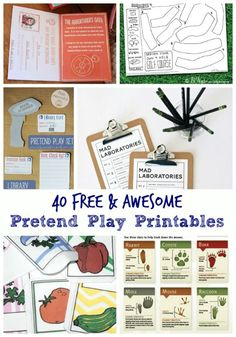So many *Free* printable DIY activity ideas for pretend play! Great to use at home or in the preschool classroom!