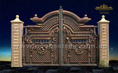 Ворота №24 House Main Gates Design, Grill Gate Design, Front Gate Design, Steel Gate Design, Double Door Design, Door Gate Design, Wrought Iron Staircase, Wrought Iron Gates, Building A Carport