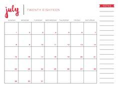 2018 july printable calendar