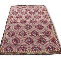 Grand Tapis kilim turc en laine éthnique - Tissu - Multicolor - Bon état - Ethnique - 86555