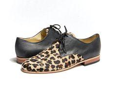 animal print derby shoes - faux leopard skin derby shoes