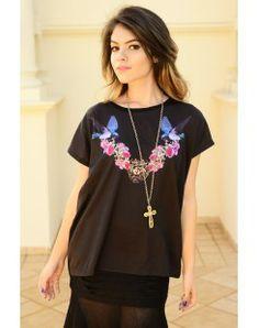 T-shirt Beija Flor preto