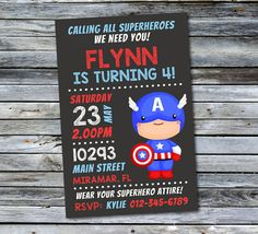 captain america invitation superhero par daisyboodesignstudio