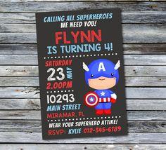 Captain America Invitation / Superhero par DaisyBooDesignStudio