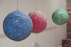 Hanging Yarn Balls- Warning! This is super messy. Next time I'll try the fabric stiffener.