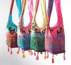 Indian shoulder bags with peacock embroidery
