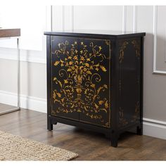 ABBYSON LIVING Antique Shanxi Hand-painted Black Side Cabinet - Overstock Shopping - Great Deals on Abbyson Living Coffee, Sofa & End Tables