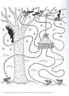 ptáčci v zimě - Hledat Googlem Preschool Writing, Preschool Worksheets, Preschool Activities, Winter Crafts For Kids, Autumn Crafts, Art For Kids, Feeding Birds In Winter, Coloring Sheets For Kids, Paper Birds