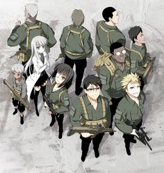 This is a 'FanArt' depiction of Koko Hekmatiar's team of bodyguards from the adult anime Jormungand. Jormungand is an adult anime that deals with themes of child soldiers, arms dealers, & assassins.