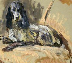 Vanessa Bell (UK, - Leonard Woolf's Dog 'Sally' - 1939 - oil on paper - National Trust, Monk's House, Lewes Vanessa Bell, Your Paintings, Animal Paintings, Leonard Woolf, Duncan Grant, Bloomsbury Group, Dog Artist, Pastel, National Portrait Gallery