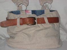 Womans endLeSS reversible Purse with changeable belt upcycled from womens shirt&jeans