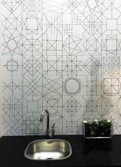 You Remodel: 6 Tile Trends You Should Know 2015 Bathroom & Kitchen Tile Trends Modern Bathroom Tile, Kitchen Wall Tiles, Bathroom Tile Designs, Kitchen Backsplash, Room Tiles, Backsplash Ideas, Bathroom Wall, Geometric Tiles, Geometric Patterns