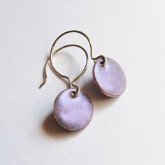 Tiny violet dangle earrings enamel jewelry by OxArtJewelry on Etsy, $29.00