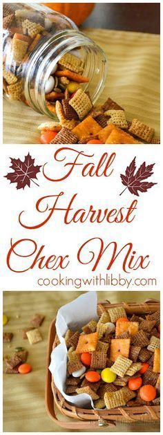fall party food This Fall Harvest Chex Mix is a wonderful snack! It's a version of Chex mix that has a bit of sweetness and a bit of spiciness to make your fall complete! Fall Snacks, Fall Treats, Fall Desserts, Holiday Treats, Camping Snacks, Appetizers For Fall, Fall Party Foods, Fall Camping Food, Fall Party Ideas