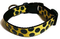 Yellow and Black Glitter Polka Dots Adjustable Dog by StellarDogs