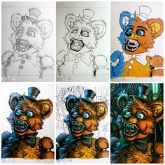 """Let's draw Freddy Fazbear""! Production Process [Let's draw Freddy Fazbear] Freddy S, Fnaf Oc, 2 Kind, A Hat In Time, Fnaf Sister Location, Fnaf Characters, Fnaf Drawings, Freddy Fazbear, Undertale Cute"