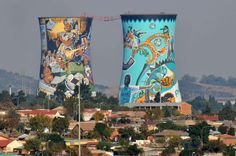 Soweto's Orlando Towers, - cooling towers of a no longer used coal fired power station A bridge runs from one chimney to the other, which are now using for bungee jumping. Orlando, Street Art, Bungee Jumping, Building Art, Urban Photography, Grunge Photography, Minimalist Photography, Newborn Photography, Photography Poses