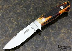 John Young Custom Knife Amber Stag Drop Point Hunter - John Young custom knife - image 1