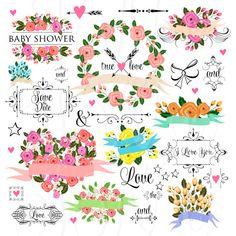 66 unique Wedding Floral clipart, Digital Wreath, Frames, Flowers, Arrows Clip art scrapbooking, Invitations, Ribbons, Banners, Heart