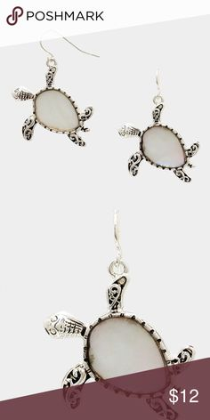 """Mother of Pearl Turtle Earrings • Color : Antique Silver, Mother of Pearl • Theme : Reptile, Sea Life  • Size : 1"""" W, 1.5"""" L  • Fish hook back • Mother of pearl turtle earrings Jewelry Earrings"""