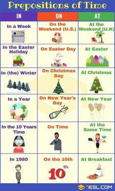 Prepositions of Time: Useful List, Meaning & Examples – carmen Prepositions of Time: Useful List, Meaning & Examples Prepositions of TIME AT-IN-ON Learning English For Kids, Teaching English Grammar, English Writing Skills, English Vocabulary Words, Grammar Lessons, English Language Learning, English Lessons, English Prepositions, English Verbs
