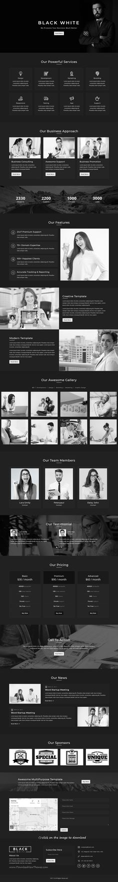 Black - White is clean and modern design responsive #HTML template for multipurpose #landingpage website with 6 unique homepage layouts to download click on image.