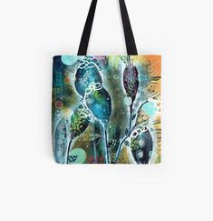 Large Bags, Small Bags, Cotton Tote Bags, Reusable Tote Bags, Night Garden, Organic Shapes, Medium Bags, Are You The One, Art Prints
