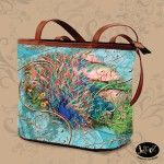 """Juleez """"Peacock Paradise"""" Luxury Italian Leather Bucket Bag designed and created by Julie Borden"""