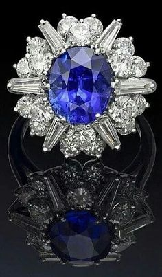 Sapphire and Diamond Ring with Star Pattern