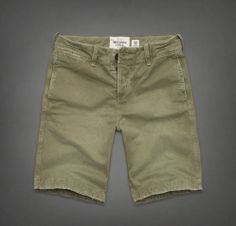 Abercrombie Fitch Mens Classic Fit At The Knee Olive Shorts 32''  #AbercrombieFitch #CasualShorts