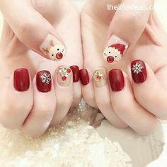 pretty french nails nagel winter and christmas nails art designs ideas 22 Chrismas Nail Art, Cute Christmas Nails, Xmas Nails, Christmas Nail Art Designs, Cotton Candy Nails, Nail Candy, Cute Nails, Pretty Nails, Nail Noel