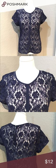Calvin Klein Navy Blue Lace Top Size L  51% cotton, 46% nylon, and 3% spandex, good pre-loved condition. Calvin Klein Tops Blouses