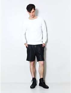 perforated leather basketball short @ oaknyc