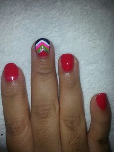A lil chevron with a bold red Chevron, Nail Polish, Nails, Red, Finger Nails, Ongles, Nail, Finger Nail Painting, Manicure