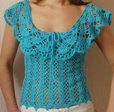 Shame there's no pattern, sooo pretty ^_^ Gilet Crochet, Crochet Shirt, Crochet Lace, Crochet Stitches, Crochet Patterns, Crochet Woman, Crochet Fashion, Leila, Beautiful Crochet