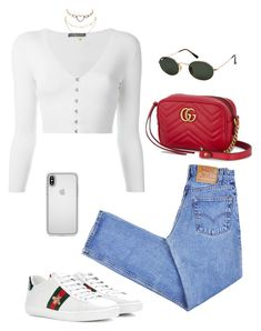 """""""Untitled #5870"""" by lilaclynn ❤ liked on Polyvore featuring Levi's, Alexander McQueen, Gucci, Speck, Ray-Ban, Charlotte Russe, AlexanderMcQueen, gucci and CharlotteRusse"""