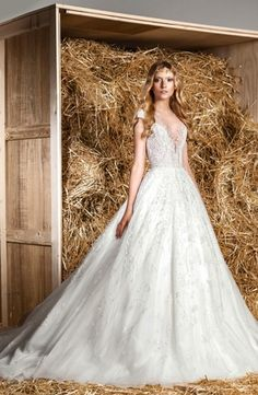 Illusion Princess/Ball Gown Wedding Dress with Natural Waist in Tulle. Bridal Gown Style Number:33077009