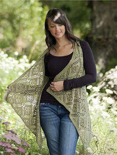 Free Pattern! 'Rose Trellis' Shawl Vest knitted in Cascade Ultra Pima