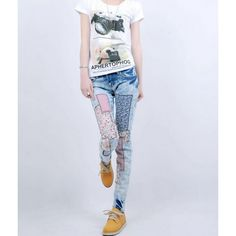 Buy Korean Style Patchwork Low Waist Pockets Vintage Slim Out Denim Pants China brand wholesale