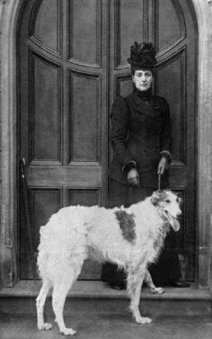 Princess Alexandra, wife of Edward VII, with Russian Wolfhound in 1890's