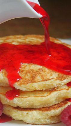 Lemon Souffle Pancakes with Raspberry Syrup