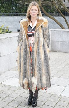 Kate Moss in a totally glam, '70s-inspired long fur coat