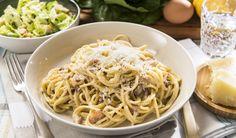 Spaghettis carbonara Main Dishes, Pizza, Ethnic Recipes, St Pierre, Danny, Chefs, Food, Pasta Carbonara, Fresh Pasta