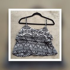 Aztec Crop Top Perfect condition. Layered fabric in the front helps the bust area :) Tops Crop Tops